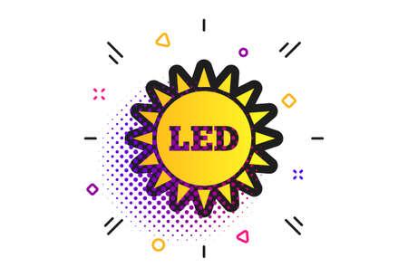Led light sun icon. Halftone dots pattern. Energy symbol. Classic flat led icon. Vector