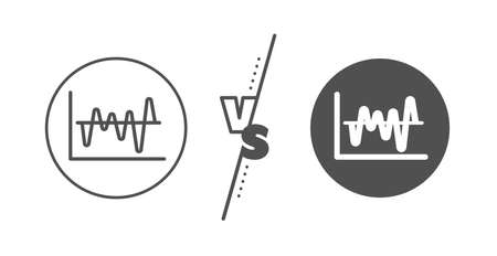 Economic graph sign. Versus concept. Investment chart line icon. Stock exchange symbol. Business finance. Line vs classic stock analysis icon. Vector