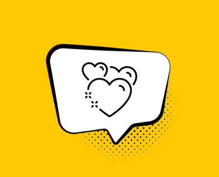 Heart line icon. Comic speech bubble. Love emotion sign. Valentine day symbol. Yellow background with chat bubble. Heart icon. Colorful banner. Vector 일러스트