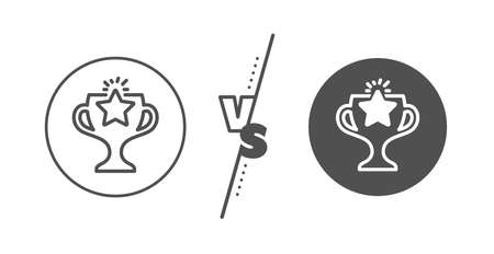 Sport Trophy with Star symbol. Versus concept. Winner cup line icon. Victory achievement or Championship prize sign. Line vs classic victory icon. Vector