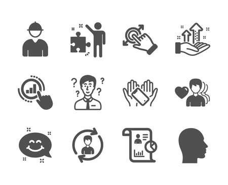 Set of People icons, such as Man love, Smile chat, Touchscreen gesture, Strategy, Engineer, Head, Report, Human resources, Smartphone holding, Support consultant, Graph chart. Man love icon. Vector