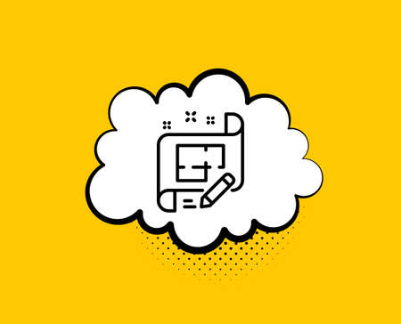 Architect line icon. Comic speech bubble. Engineering plan sign. Edit project document. Yellow background with chat bubble. Architect plan icon. Colorful banner. Vector