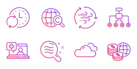 Restructuring, Update time and Wind energy line icons set. Skin condition, Cloudy weather and International Ð¡opyright signs. Medical help, World money symbols. Delegate, Refresh clock. Vector