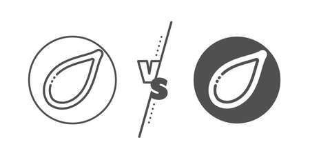Tasty seeds sign. Versus concept. Pumpkin seed line icon. Vegan food symbol. Line vs classic pumpkin seed icon. Vector 일러스트