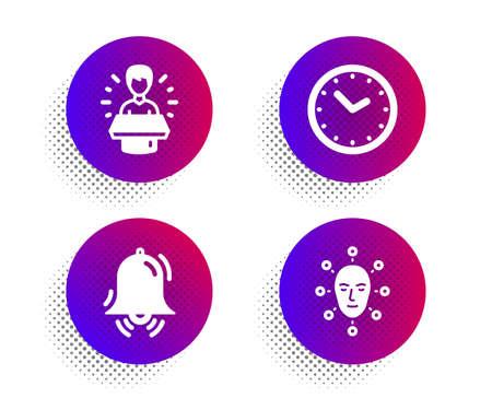 Brand ambassador, Time and Clock bell icons simple set. Halftone dots button. Face biometrics sign. Man speak, Clock, Alarm. Facial recognition. Technology set. Vector