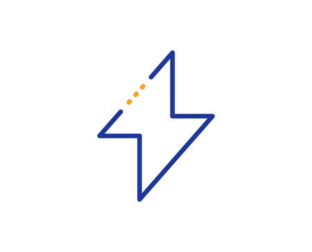 Thunderbolt sign. Energy line icon. Electric power symbol. Colorful outline concept. Blue and orange thin line energy icon. Vector