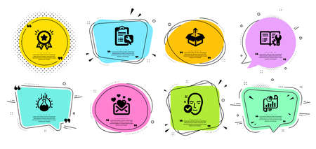 Engineering documentation, Love mail and Report document line icons set. Chat bubbles with quotes. Chemistry experiment, Loyalty award and Health skin signs. Spanner, Send box symbols. Vector Ilustrace