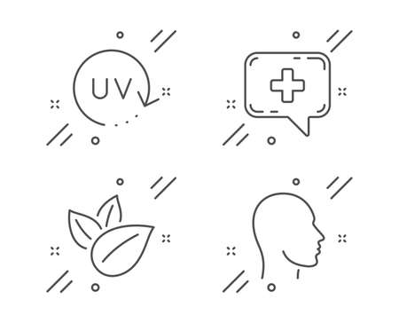 Medical chat, Organic product and Uv protection line icons set. Head sign. Medicine help, Leaves, Skin cream. Human profile. Healthcare set. Line medical chat outline icon. Vector Banco de Imagens - 132247454