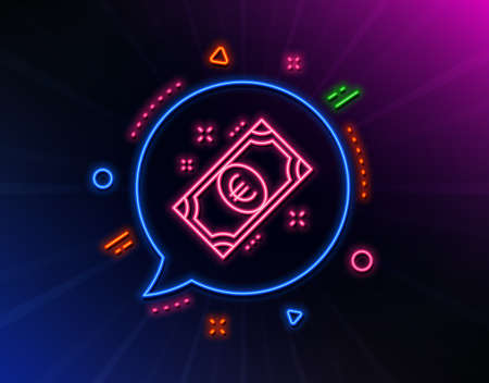 Euro money line icon. Neon laser lights. Payment method sign. Eur symbol. Glow laser speech bubble. Neon lights chat bubble. Banner badge with euro money icon. Vector Archivio Fotografico - 132247456