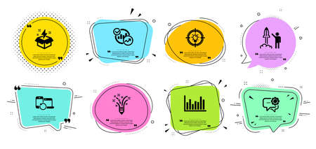 Creative idea, Inspiration and Statistics line icons set. Chat bubbles with quotes. Bar diagram, Recovery devices and Launch project signs. Employees messenger, Idea symbols. Vector Stock Illustratie