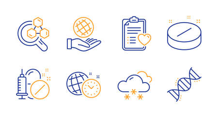 Snow weather, Chemistry lab and Medical drugs line icons set. Patient history, Time management and Medical tablet signs. Safe planet, Chemistry dna symbols. Snowflake, Lab research. Vector