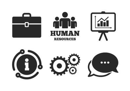 Presentation board with charts signs. Chat, info sign. Human resources and Business icons. Case and gear symbols. Classic style speech bubble icon. Vector Ilustração