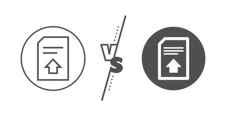 Information File sign. Versus concept. Upload Document line icon. Paper page concept symbol. Line vs classic upload file icon. Vector