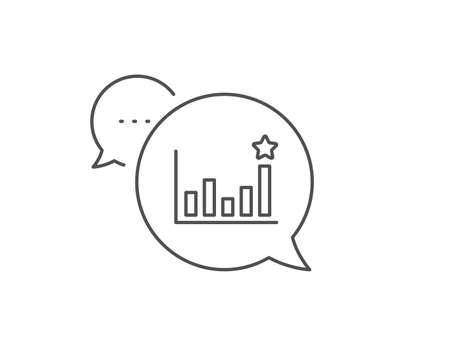 Efficacy line icon. Chat bubble design. Business chart sign. Analysis graph symbol. Outline concept. Thin line efficacy icon. Vector