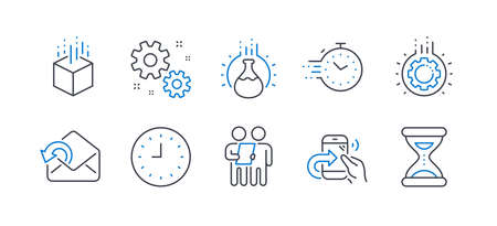 Set of Technology icons, such as Survey, Gear, Augmented reality, Timer, Share call, Work, Clock, Chemistry experiment, Send mail, Time line icons. Contract, Work process. Line survey icon. Vector Illusztráció