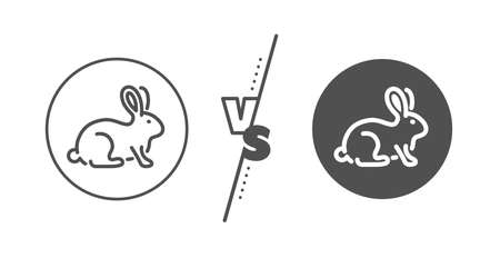 Bio cosmetics sign. Versus concept. Animal tested line icon. Fair trade symbol. Line vs classic animal tested icon. Vector