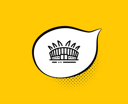 Arena stadium line icon. Comic speech bubble. Sport complex sign. Championship building symbol. Yellow background with chat bubble. Arena stadium icon. Colorful banner. Vector 일러스트