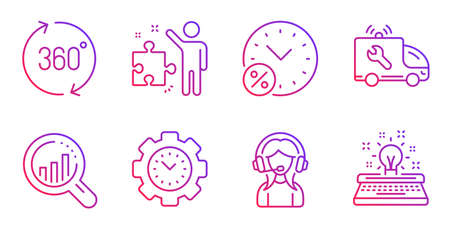 Time management, Seo analysis and Loan percent line icons set. 360 degrees, Strategy and Support signs. Car service, Typewriter symbols. Settings, Targeting chart. Technology set. Vector Illustration
