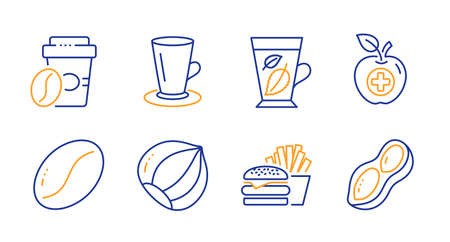Hazelnut, Teacup and Takeaway coffee line icons set. Mint leaves, Medical food and Coffee beans signs. Burger, Peanut symbols. Vegetarian nut, Tea or latte. Food and drink set. Vector