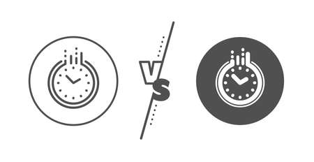 Clock sign. Versus concept. Time management line icon. Watch symbol. Line vs classic time icon. Vector