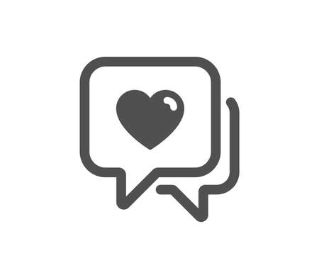 Love chat sign. Heart icon. Valentine day symbol. Classic flat style. Simple heart icon. Vector Foto de archivo - 132241209
