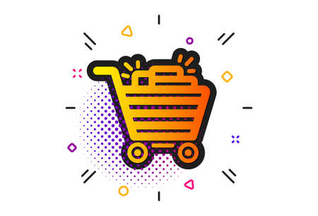 Sale Marketing symbol. Halftone circles pattern. Shopping cart icon. Special offer sign. Classic flat shopping cart icon. Vector