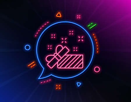 Gift box open line icon. Neon laser lights. Christmas or New year present sign. Surprise symbol. Glow laser speech bubble. Neon lights chat bubble. Banner badge with present icon. Vector Ilustração