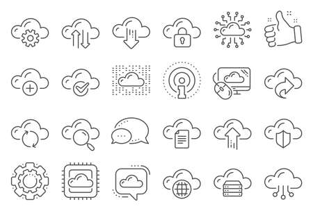 Cloud data and technology line icons. Set of Hosting, Computing data and File storage icons. Archive, Download, Share cloud files. Sync technology, Web server, Storage access. Line signs set. Vector