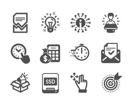 Set of Technology icons, such as Brand ambassador, Megaphone box, Target purpose, Approved mail, Move gesture, Time management, Info, Ssd, Cooking timer, Corrupted file, Idea. Vector
