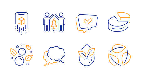 Organic product, Approved and Augmented reality line icons set. Speech bubble, Pie chart and Clean bubbles signs. Partnership, Leaves symbols. Leaf, Chat message. Business set. Vector
