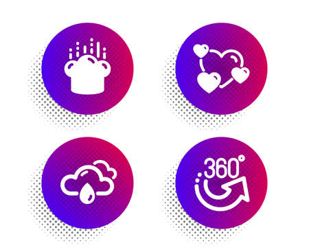 Heart, Cooking hat and Rainy weather icons simple set. Halftone dots button. 360 degrees sign. Love rating, Chef, Rain. Full rotation. Business set. Classic flat heart icon. Vector