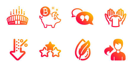 Arena stadium, Low percent and Ranking stars line icons set. Hold t-shirt, Bitcoin coin and Hypoallergenic tested signs. Quote bubble, Share symbols. Competition building, Discount. Vector