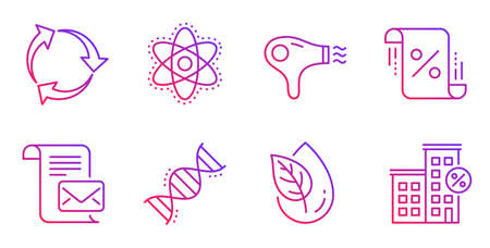 Loan percent, Chemistry dna and Organic product line icons set. Hair dryer, Mail letter and Recycle signs. Chemistry atom, Loan house symbols. Discount blueprint, Chemical formula. Vector
