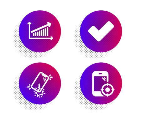 Smartphone broken, Chart and Tick icons simple set. Halftone dots button. Seo phone sign. Phone crack, Presentation chart, Confirm check. Smartphone optimization. Business set. Vector Çizim