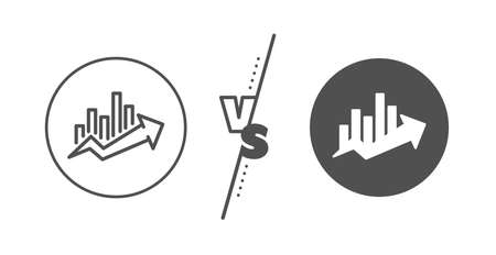 Discount sign. Versus concept. Growth chart line icon. Sale diagram symbol. Line vs classic growth chart icon. Vector
