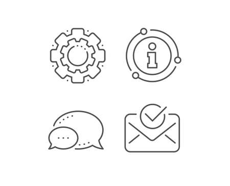 Approved mail line icon. Chat bubble, info sign elements. Accepted or confirmed sign. Document symbol. Linear approved mail outline icon. Information bubble. Vector