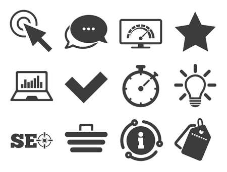 Bandwidth speed, online shopping and tick signs. Discount offer tag, chat, info icon. Internet, seo icons. Favorite star, notebook chart symbols. Classic style signs set. Vector