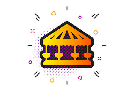 Amusement park sign. Halftone circles pattern. Carousels icon. Classic flat carousels icon. Vector