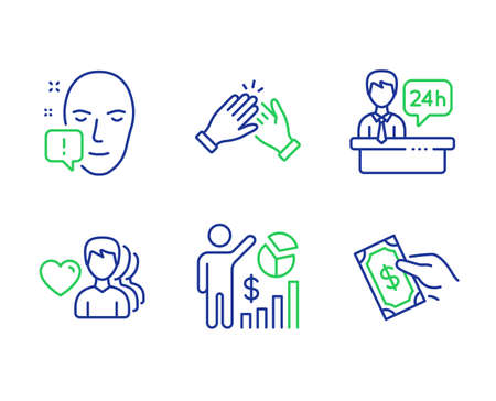Man love, Clapping hands and Reception desk line icons set. Seo statistics, Face attention and Pay money signs. Romantic people, Clap, Hotel service. Analytics chart. People set. Vector
