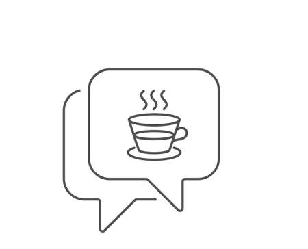 Coffee and Tea line icon. Chat bubble design. Hot drink sign. Fresh beverage symbol. Outline concept. Thin line coffee cup icon. Vector Ilustração