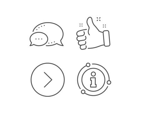 Forward arrow line icon. Chat bubble, info sign elements. Next Arrowhead symbol. Next navigation pointer sign. Linear forward outline icon. Information bubble. Vector Ilustração