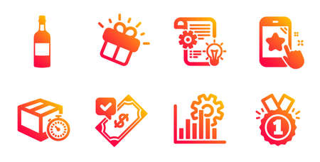 Brandy bottle, Gift and Accepted payment line icons set. Star rating, Cogwheel and Delivery timer signs. Seo graph, Approved symbols. Whiskey, Marketing box. Business set. Vector