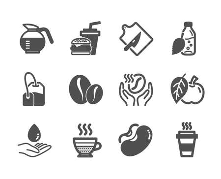 Set of Food and drink icons, such as Water bottle, Coffee, Tea bag, Hamburger, Cafe creme, Coffeepot, Beans, Coffee beans, Water care, Cutting board, Takeaway, Apple classic icons. Vector