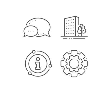 Buildings line icon. Chat bubble, info sign elements. City architecture with tree sign. Skyscraper building symbol. Linear buildings outline icon. Information bubble. Vector