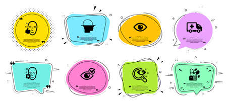 Eye, Ambulance emergency and Healthy face line icons set. Chat bubbles with quotes. Check eye, Vision test and Face declined signs. Mint bag symbol. View or vision, Medical transport. Vector