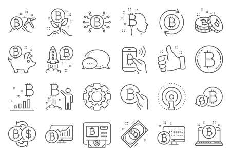 Cryptocurrency line icons. Set of Blockchain, Crypto ICO start up and Bitcoin icons. Mining, Cryptocurrency exchange, gold pickaxe. Bitcoin ATM, crypto coins, financial ico markets, blockchain. Vector  イラスト・ベクター素材
