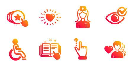 Check eye, Touchscreen gesture and Hospital nurse line icons set. Disabled, Heart and Technical documentation signs. Hold heart, Man love symbols. Vision, Slide up. People set. Vector Ilustração