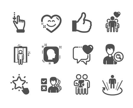 Set of People icons, such as Like, Touchscreen gesture, Heart, Head, Survey, Elevator, Search people, Augmented reality, Smile chat, Ranking star, Opinion, Friendship classic icons. Like icon. Vector