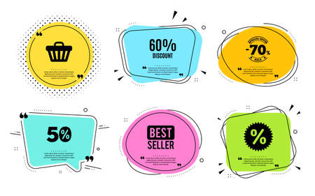 60% Discount. Best seller, quote text. Sale offer price sign. Special offer symbol. Quotation bubble. Banner badge, texting quote boxes. Discount text. Coupon offer. Vector