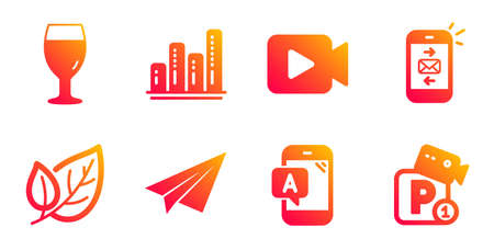 Ab testing, Graph chart and Video camera line icons set. Beer glass, Paper plane and Mail signs. Leaf, Parking security symbols. Phone test, Growth report. Business set. Vector